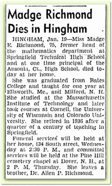 Madge Richmond Dies in Hingham, Boston Herald newspaper obituary 20 January 1942