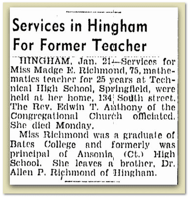 Services in Hingham for Former Teacher, Boston Herald newspaper article 22 January 1942