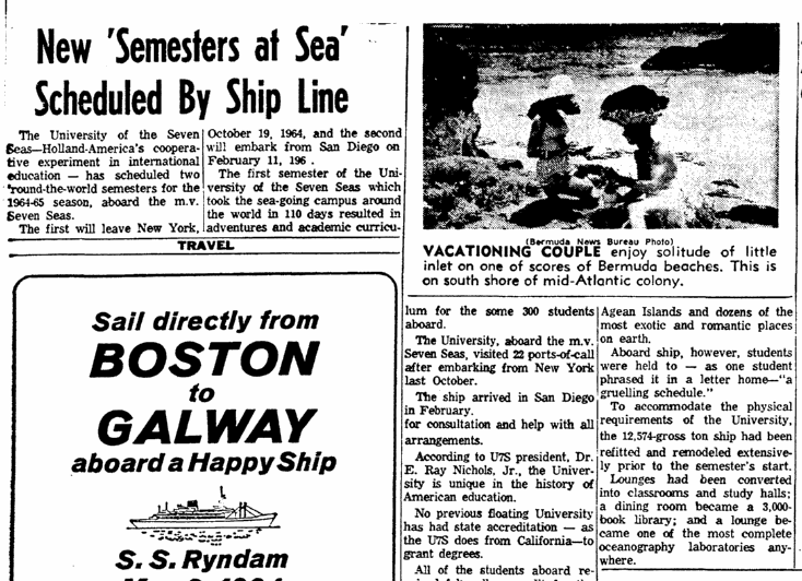 New 'Semesters at Sea' Scheduled by Ship Line, Boston Herald newspaper article 19 April 1964