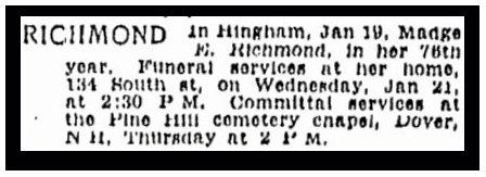 newspaper article about Madge Richmond, Boston Herald 21 June 1942