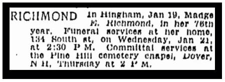 newspaper article about Madge Richmond, Boston Herald 21 June 1942