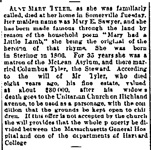 Mary Tyler obituary, Boston Journal newspaper article 11 December 1889