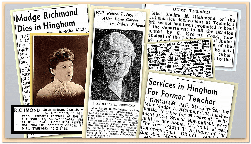 collage of newspaper articles about Madge Richmond