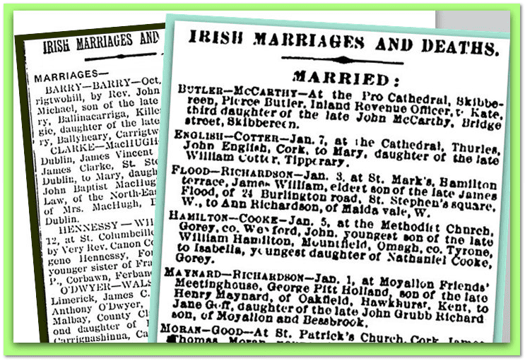 collage of marriage and death notices from Irish American newspapers