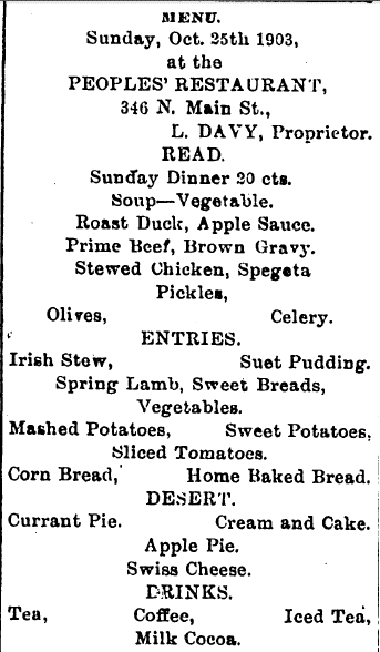 Menu at the People's Restaurant, Colored Citizen newspaper article 31 October 1903