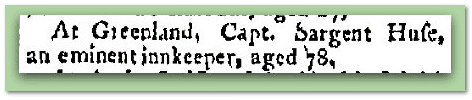 Sargent Huse death notice, Concord Gazette newspaper article 17 February 1818