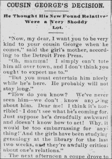 Cousin George's Decision, Daily Alaska Dispatch newspaper article 24 January 1900