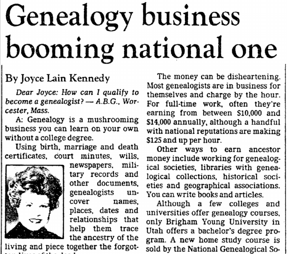 Genealogy Business Booming National One, Dallas Morning News newspaper article 18 July 1981