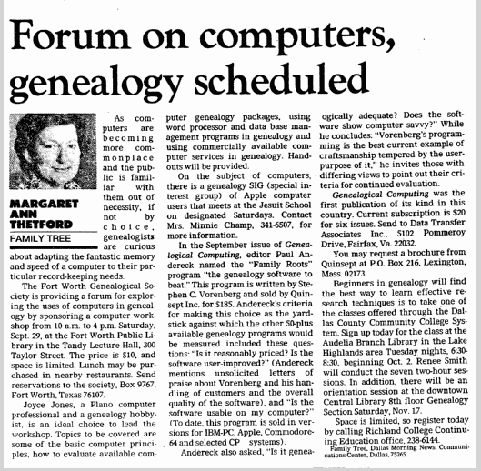 Forum on Computers, Genealogy Scheduled, Dallas Morning News newspaper article 22 September 1984