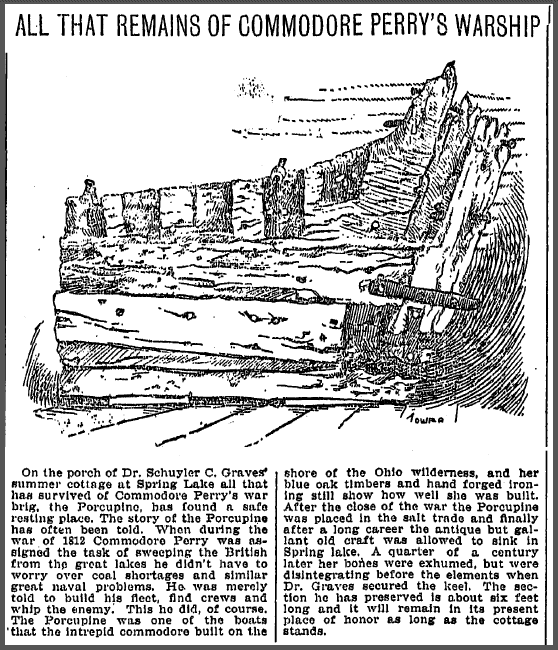 All That Remains of Commodore Perry's Warship, Grand Rapids Press newspaper article 19 October 1901