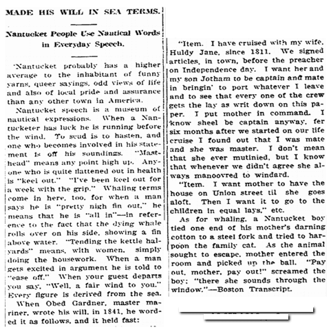 Made His Will in Sea Terms, Idaho Register newspaper article 19 September 1916