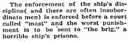 notice of a ship's brig, Idaho Statesman newspaper article 2 November 1917