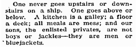 notice about a ship's galley and mess, Idaho Statesman newspaper article 2 November 1917