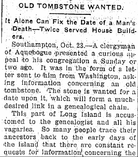 Old Tombstone Wanted, Jackson Citizen Patriot newspaper article 23 October 1900