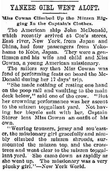 Yankee Girl Went Aloft, Kalamazoo Gazette newspaper article 2 March 1898