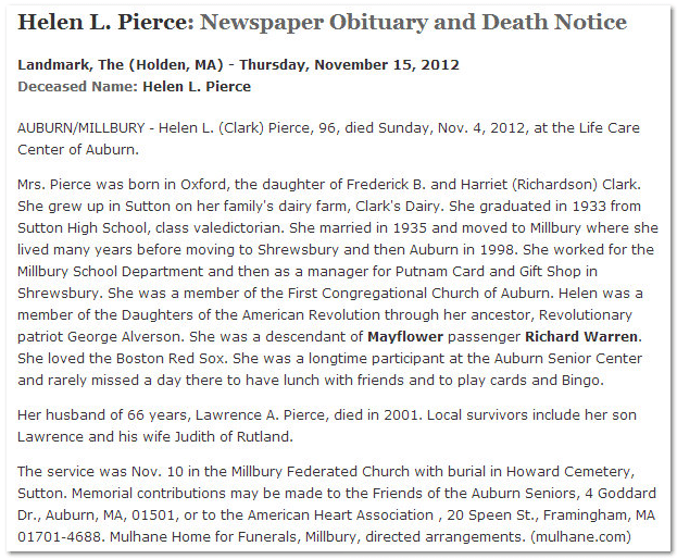 Helen L. Pierce obituary, Landmark newspaper article 15 November 2012