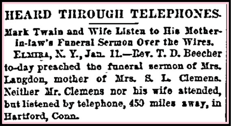 Mark Twain Funeral by Proxy Newspaper Clip Daily Inter Ocean