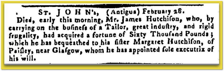 James Hutchison obituary, Maryland Journal newspaper article 25 April 1788