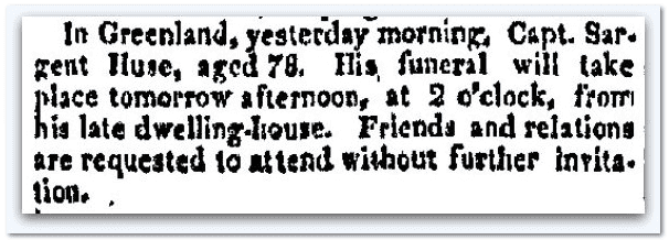 Sargent Huse obituary, New Hampshire Gazette newspaper article 27 January 1818