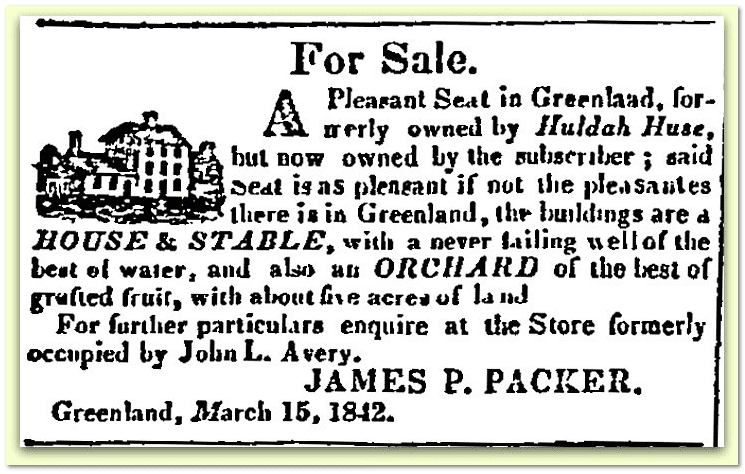 ad for real estate sale of Huldah Huse property, New Hampshire Gazette newspaper article 29 March 1842