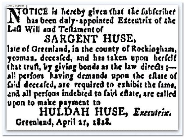 probate notice for estate of Sargent Huse, New Hampshire Gazette newspaper article 21 April 1818
