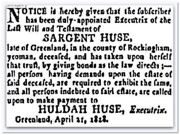 probate notice for estate of Sargent Huse, New Hampshire Gazette newspaper article 21 April 1818