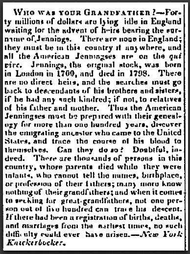 Who Was Your Grandfather? New-Hampshire Patriot newspaper article 27 August 1851