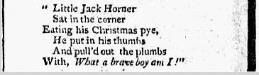"""Little Jack Horner"" nursery rhyme, New-York Herald newspaper article 9 October 1802"