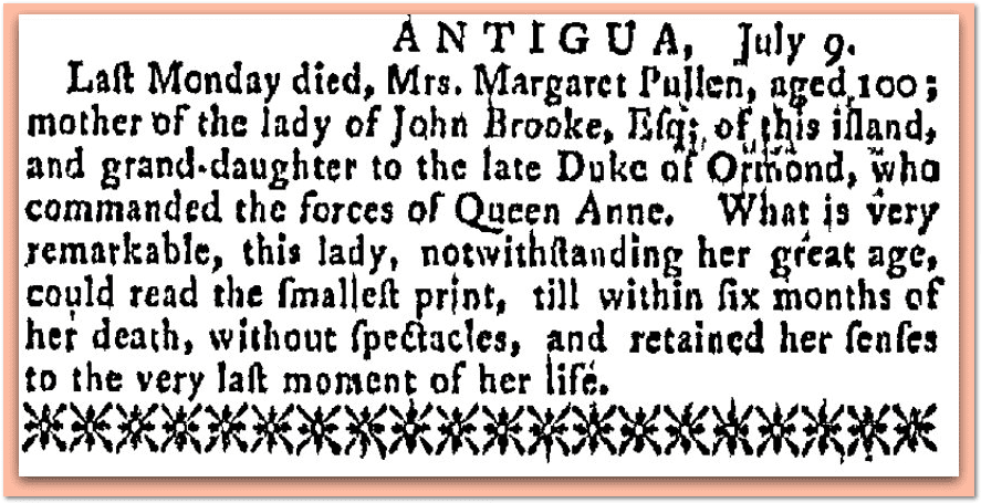 Margaret Pullen obituary, Newport Mercury newspaper article 1 September 1766