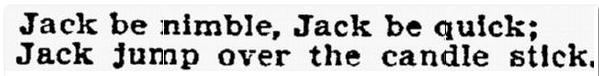 """Jack Be Nimble"" nursery rhyme, Philadelphia Inquirer newspaper article 8 May 1806"