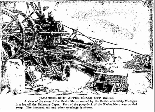 Japanese Ship after Crash off Capes, Philadelphia Inquirer newspaper article 3 October 1922