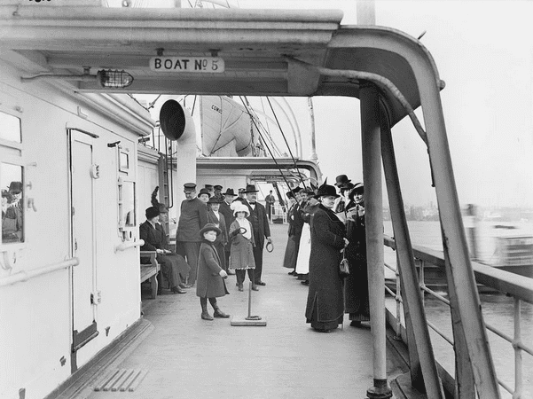 Photo: passengers on the deck of the steamship Comus. Credit: Library of Congress.