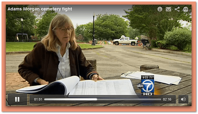 photo of Mary Belcher leading effort to restore historic District of Columbia cemetery