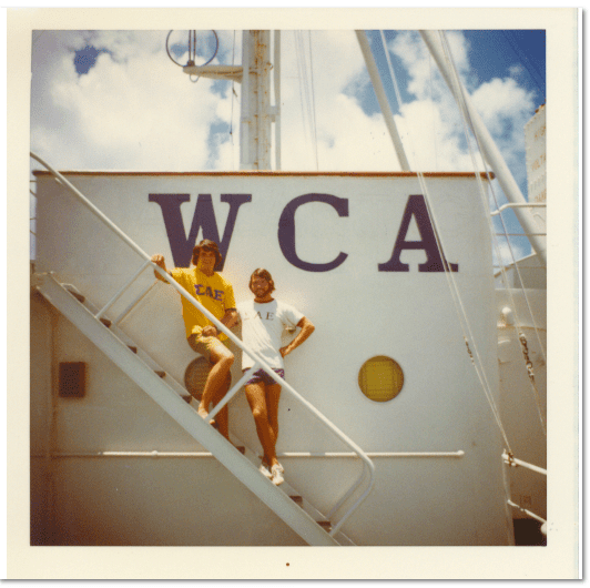 photo of the author, Scott Phillips, as a youth on board ship, participating in the World Campus Afloat program