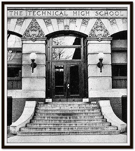 photo of the entrance to the Technical High School in Springfield, Massachusetts