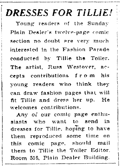 Dresses for Tillie! Plain Dealer newspaper article 29 January 1933