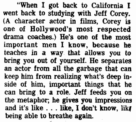 notice about actor Jeff Corey, Plain Dealer newspaper article 31 August 1979