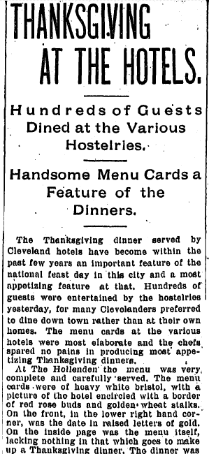 Thanksgiving at the Hotels, Plain Dealer newspaper article 25 November 1898