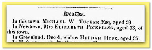 Huldah Huse death notice, Portsmouth Journal newspaper article 25 December 1841