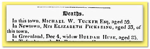 Huldah Huse death notice, Portsmouth Journal newspaper article 25 December 1841