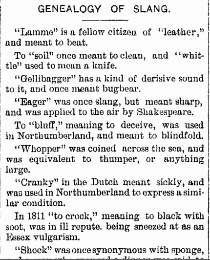 Genealogy of Slang, Repository newspaper article 15 March 1890