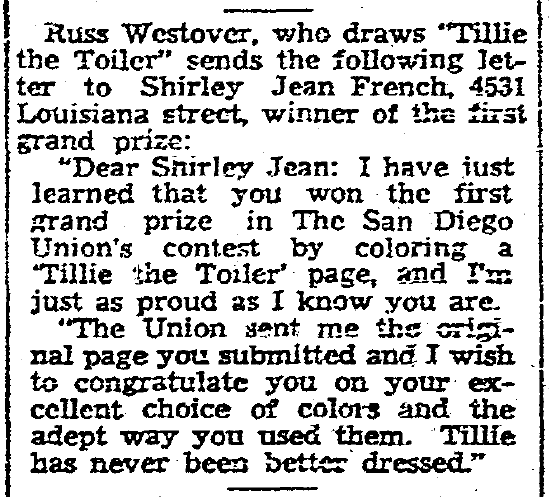 "winner of ""Tillie the Toiler"" coloring contest, San Diego Union newspaper article 27 August 1933"