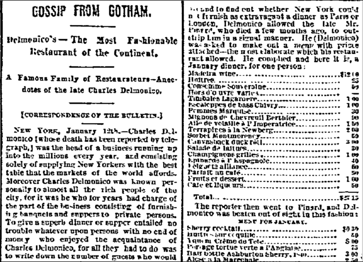Gossip from Gotham: Delmonico's--The Most Fashionable Restaurant of the Continent, San Francisco Bulletin newspaper article, 19 January 1884
