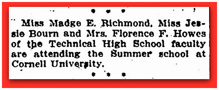 newspaper article about Madge Richmond, Springfield Daily News 12 July 1915