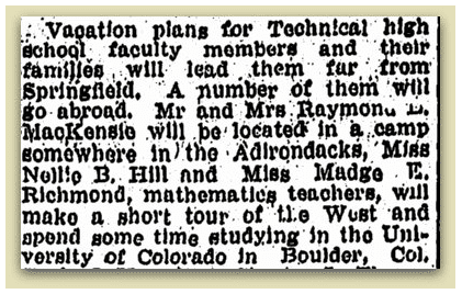 newspaper article about Madge Richmond, Springfield Republican 15 May 1921