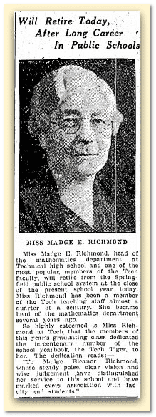 Will Retire Today, after Long Career in Public Schools, Springfield Republican newspaper article 19 June 1936