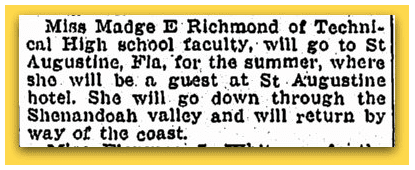 newspaper article about Madge Richmond, Springfield Republican 23 June 1929