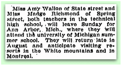 newspaper article about Madge Richmond, Springfield Republican 27 June 1919