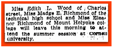 newspaper article about Madge Richmond, Springfield Republican 1 July 1916