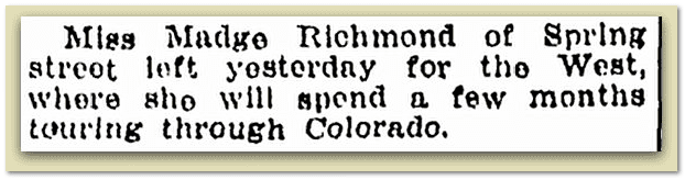 newspaper article about Madge Richmond, Springfield Republican 17 July 1921